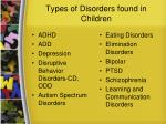 types of disorders found in children