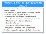 responsabilit s des agences lead des clusters
