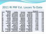 2011 ri prf est losses to date