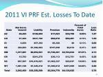 2011 vi prf est losses to date