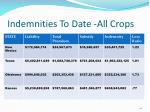 indemnities to date all crops