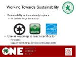 working towards sustainability