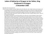 letter of katharine of aragon to her father king ferdinand ii of aragon 2 december 1505