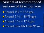 arsenal at recommended use rate of 48 oz per acre