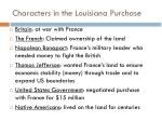 characters in the louisiana purchase