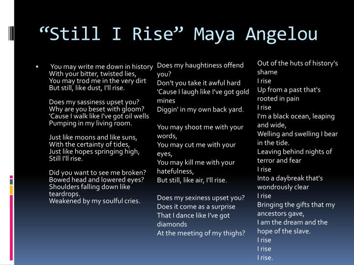 still i rise poetic devices
