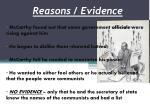 reasons evidence