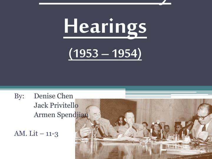 the mccarthy hearings 1953 1954 n.
