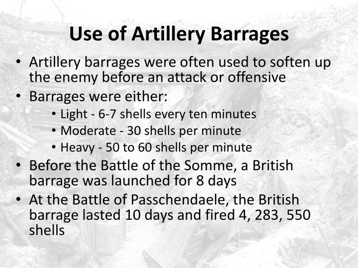 Use of Artillery Barrages