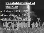 reestablishment of the klan
