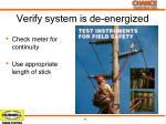 verify system is de energized