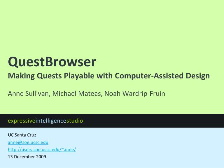 questbrowser making quests playable with computer assisted design n.