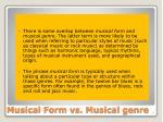 musical form vs musical genre