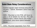 solid state relay considerations