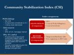 community stabilization index csi