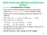 divide and conquer algorithms and recurrence relations1