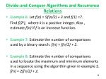 divide and conquer algorithms and recurrence relations4