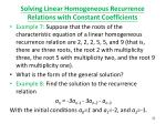 solving linear homogeneous recurrence relations with constant coefficients6