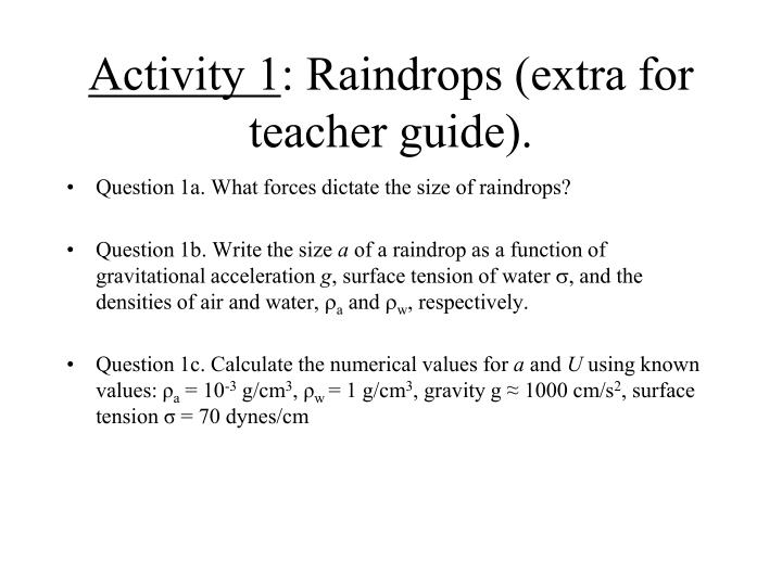 activity 1 raindrops extra for teacher guide n.