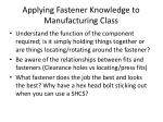 applying fastener knowledge to manufacturing class