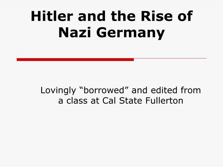 hitler and the rise of nazi germany n.