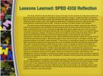 lessons learned sped 4332 reflection
