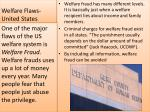 welfare flaws united states