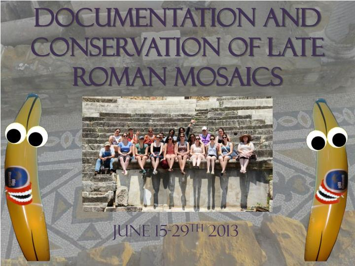 documentation and conservation of late roman mosaics n.