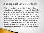 looking back at dd 3000 05