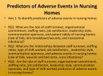 predictors of adverse events in nursing homes
