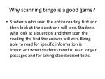 why scanning bingo is a good game