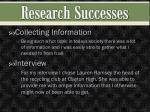 research successes