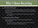 why i chose recycling
