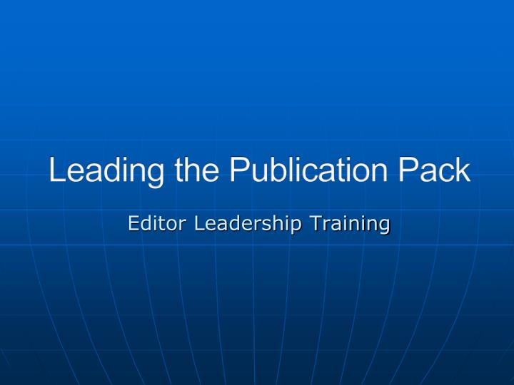 editor leadership training n.