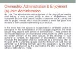ownership administration enjoyment a joint administration