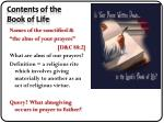contents of the book of life