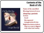 contents of the book of life1
