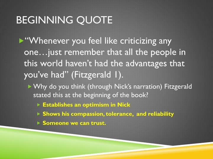 Beginning quote