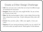 create a critter design challenge