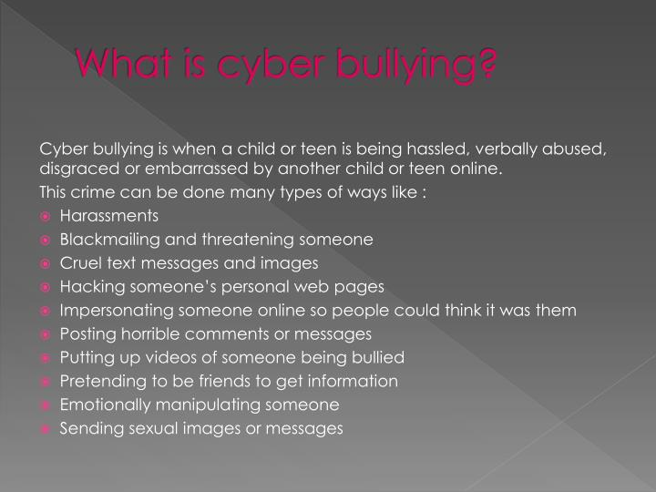 informative essay on cyber bullying Cyber bullying is the use of the internet, cell phones, or other electronic communication devices to spread harmful or embarrassing information about another person so when cyber bullying occurs, it's easy for the teen to believe it and think negative things we need to stand up and take action.