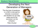 developing the next generation of managers