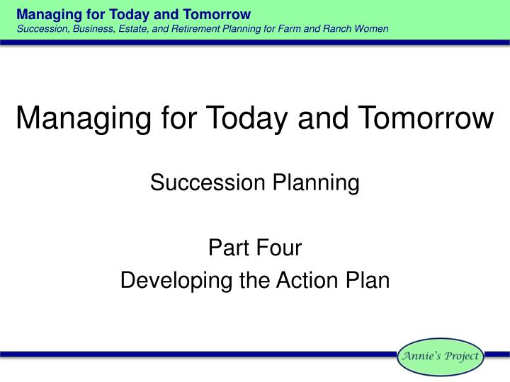 managing for today and tomorrow n.
