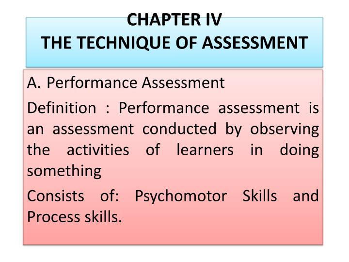 chapter iv the technique of assessment n.