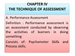 chapter iv the technique of assessment