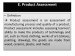 e product assessment