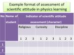 example format of assessment of scientific attitude in physics learning