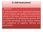 g self assessment
