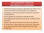 the important things in performance assessment