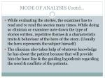 mode of analysis contd