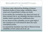 reliability validity contd